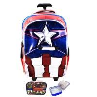 Jual Tas Troley Sekolah Anak SD Avenger Captain America Muscle 3D Timbul LB Murah