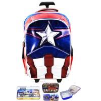 Jual Tas Troley Sekolah Anak SD Avenger Captain America Muscle 3D Timbul LK Murah