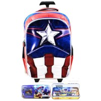 Jual Tas Troley Sekolah Anak SD Avenger Captain America Muscle 3D Timbul KP Murah