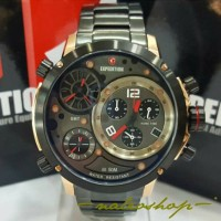 Jam Tangan Expedition Pria E 6706 Rose Gold Black Triple Time Original