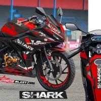 Decal Stiker New CBR150R Black Red SHARK Helm + stiker velg