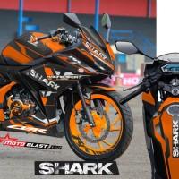 Decal Stiker New CBR150R Black SHARK Orange