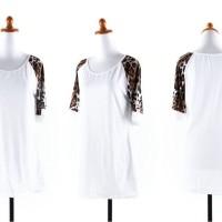 Jual  25072  White Slim Leopard Blouse  Blouse KODE vc10003 Murah