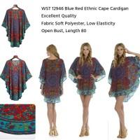 Jual  12946 Blue Red Ethnic Cape Cardigan  Car KODE vc9976 Murah