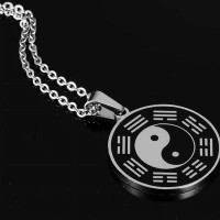 Polish Stainless Steel Enamel 2P Yin Yang Pendant Necklace Choker Neck