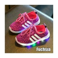 Jual LED Shoes Import Adidas Style FUSHIA - Sepatu bayi anak led Sneakers Murah