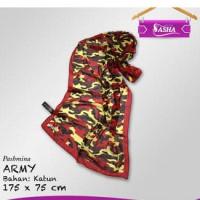 Pashmina Motif Army Full Katun - Hijab Jilbab Kerudung