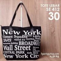 Jual (FREE SILICA) Tas Kanvas/Canvas Tote Bag Zipper NEW YOR Limited Murah