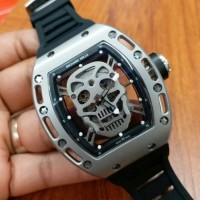 Jual jam tangan pria silver richard mille skull metic super premium new Murah