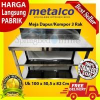 Meja Dapur / Kompor Stainless Steel 3 Rak Serbaguna Metalco