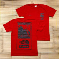 KAOS T-SHIRT SUPREME THE NORTH FACE STEEP TECH RED