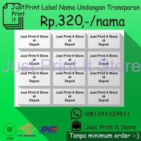 Print / Cetak Label Undangan Transparan No.103