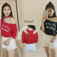 Jual New Baby blus FT blouse wanita spandek hitam dan merah Murah