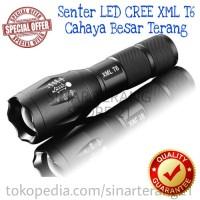Senter E17 XML T6 BLACK Cahaya LED BESAR TERANG Zoom TAFFWARE 2000LM