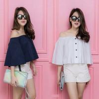 Jual PROMO sabrina button  blouse wanita twiscont putih dan navy Murah