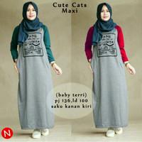 Jual Murah ! 60308 cute cats maxi/maxi dress/dress muslim murah/baju muslim Murah