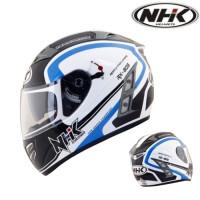 Helm NHK Terminator Akura White List Blue Full Face Visor