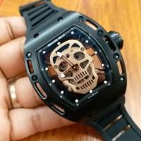 Jual jam tangan pria richard mille black metic super premium garansi 6bln Murah