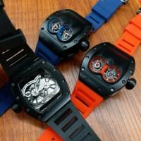 Jual jam tangan pria richard mille doubleturbilon black batre garasi 6bln Murah