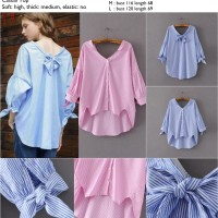 Jual 43813 Wide Neck Blouse / Blouse Biru Pink Murah