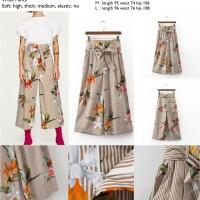 Jual 43846 Khaki Stripe Flower Wide Pants / Celana Panjang Cokelat Murah
