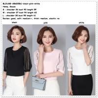 Jual Baju Kerja Pesta Blouse Korea Import Pink Black White Hitam Putih Murah