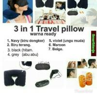 Jual Inflatable Travel Pillow Set Air Bantal Leher Penutup Mata Telinga Murah