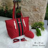 Supplier Tas Wanita Kantor Santai Terbaru Hits Gucci Kanvas Merah Red