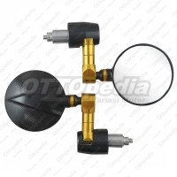 Bar End Mirror Spion Sepion Jalu Bulat CNC Motor Custom Jap style Gold