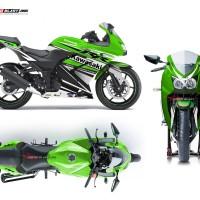 Decal stiker Ninja 250R Karbu Green RC black