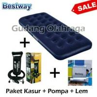 Kasur Angin Bestway Single Paket 3 in 1 Kasur Angin - Pompa - Lem
