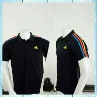 Jual Polo Grade Ori Hitam Adidas Garis PA01-baju kaos polo olahraga adidas Murah
