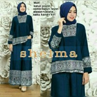 setelan baju batik muslim tunik blouse atasan celana kulot panjang set