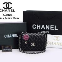 Tas Chanel Classic Mini Square Lambskin Camellia HITAM Semprem AL3926 42e37a8e77