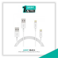 harga Aukey Cb-d14 2 Packs Usb Sync & Charging Cable For Iphone - Putih Tokopedia.com