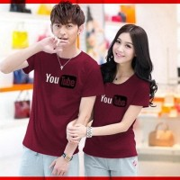 TERBATAS Cp T Shirt You Tube Marun CL PROMO pakaian couple cotton com