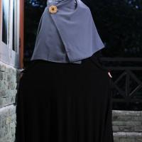 Gamis Payung Syari Polos Bahan Jersey Korea Black