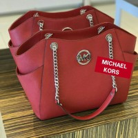 JUAL TAS MICHAEL KORS FULTON LARGE TZ SHOULDER RED ORIGINAL