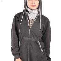 Jaket Panjang Wanita Berhijab Cantik warna Black x Grey Murah Grosir