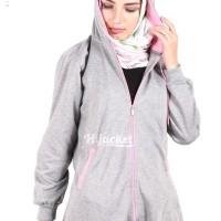 Jaket Panjang Wanita Berhijab Cantik warna Grey x Pink Murah Grosir