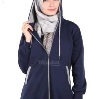 Jaket Panjang Wanita Berhijab Cantik warna Navy x Grey Murah Grosir