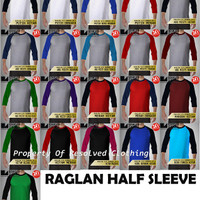 Kaos Raglan 3/4 Polos Size M