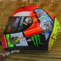 Jasa Helm airbrush , replika helm Agv Valentino Rossi VR 46 simoncelli