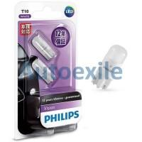 Philips Vision LED T10 12V 0.8W 6000K (Lampu Senja Putih Motor Mobil)