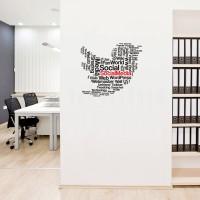 Stiker Sosial Media Kafe Dinding Kaca Kamar Tidur Word Cloud Twitter