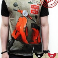 Kaos Cowok Baju Pria Tshirt Oblong Distro Vespa Scooters Parking Only