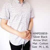 Kemeja Pria Lengan Pendek Distro Gaul Silver Black Arrow Shirt- 859