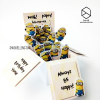 Minion Pop Up Box Kartu Ucapan Ulang Tahun / Wisuda