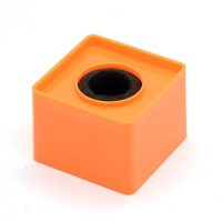 Orange Abs Mic Microphone Interview Square Cube Logo Flag Station