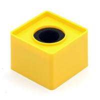 Yellow Abs Mic Microphone Interview Square Cube Logo Flag Station